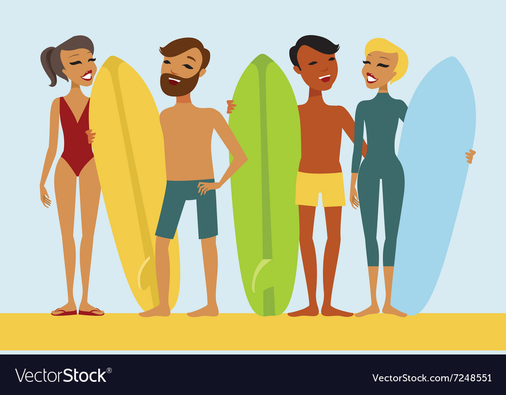 Young surfers vector