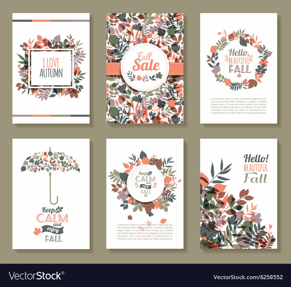 Fall set medal and leaves compositionbanners of vector