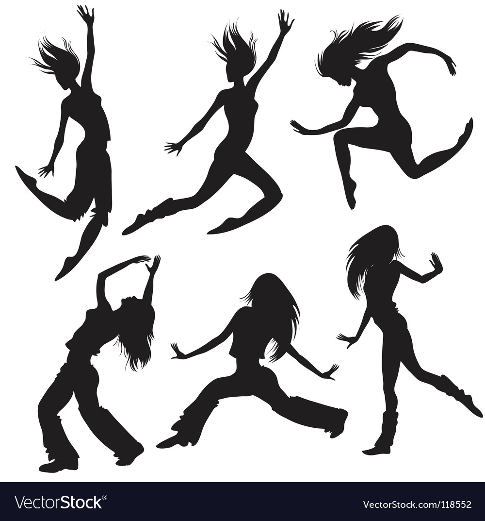 Modern dancers silhouette vector
