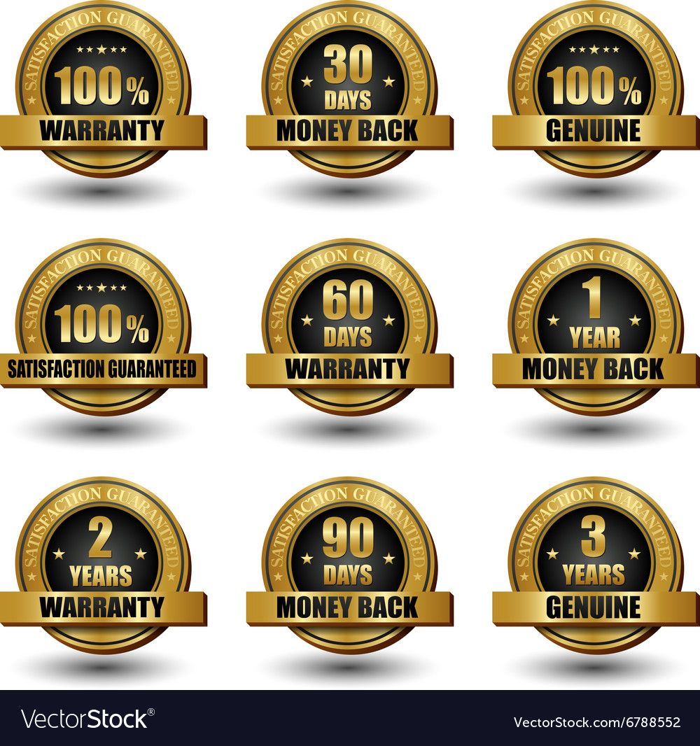 Set of 100 percent satisfaction guaranteed vector