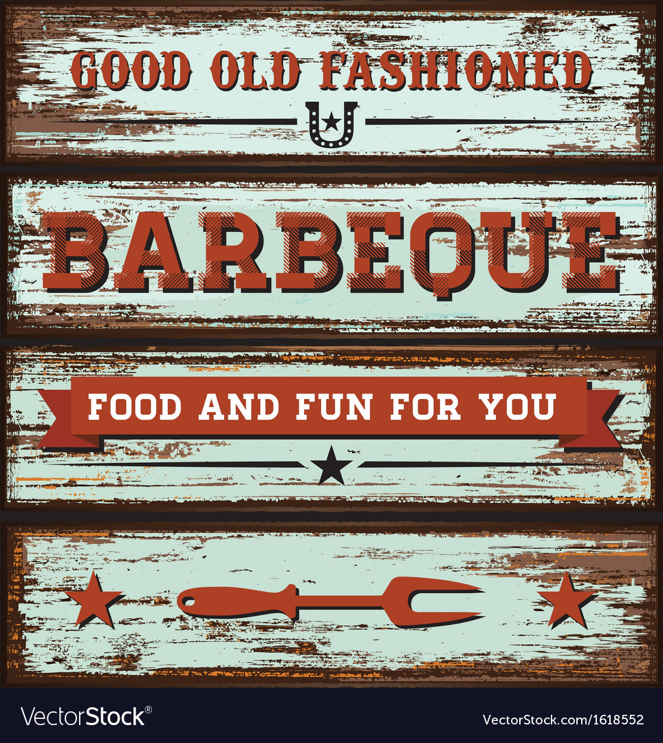 Vintage bbq wooden sign vector