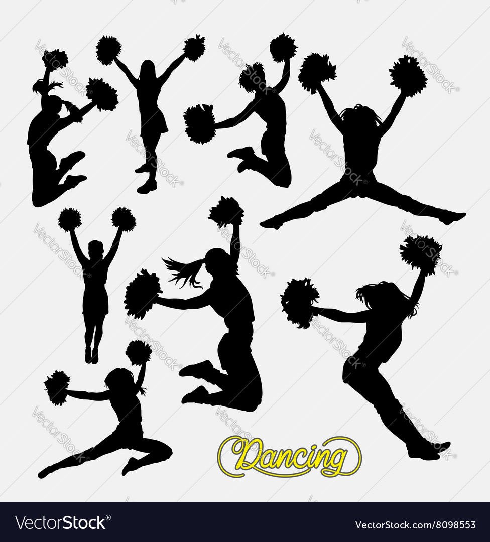 Cheerleader happy girl silhouette vector