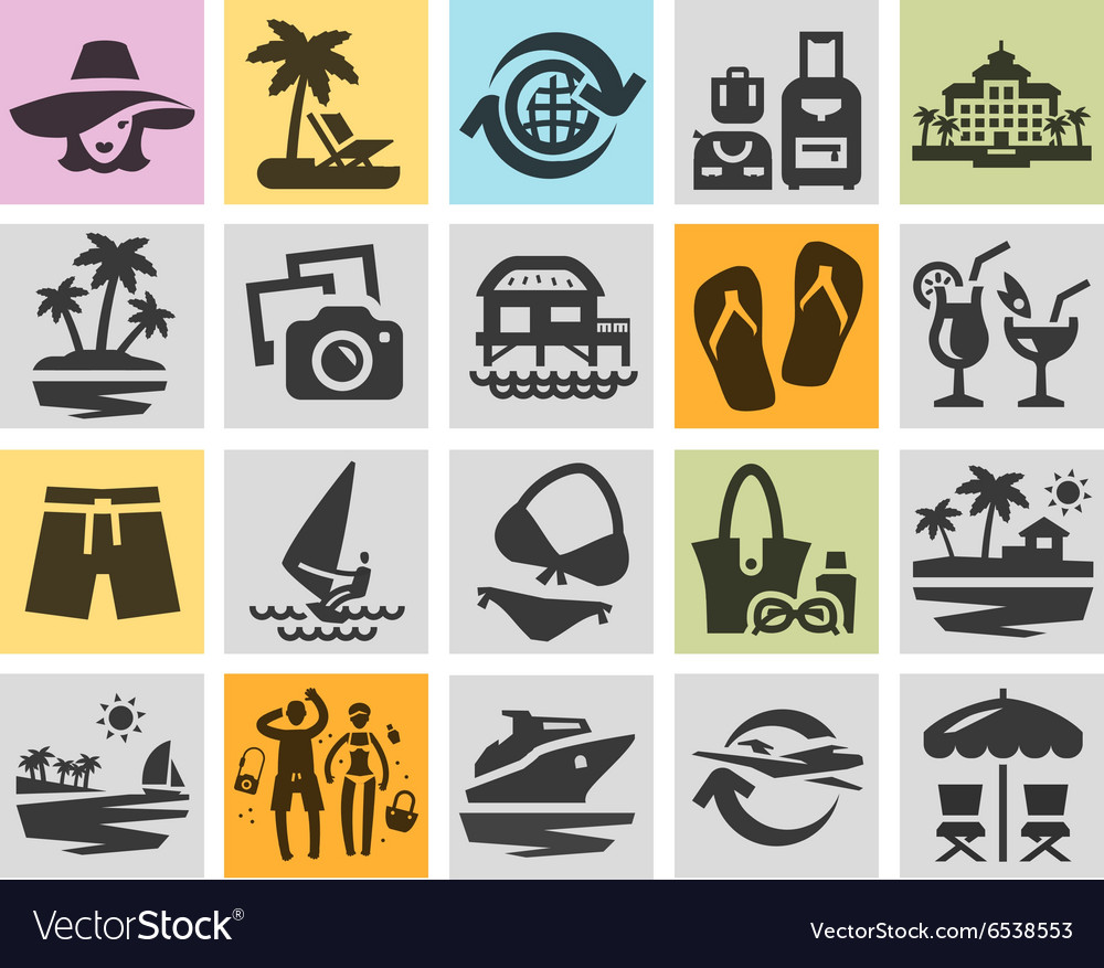 Resort set black icons signs and symbols vector