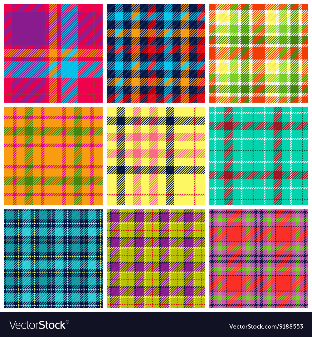 Set of plaid seamless patterns vector