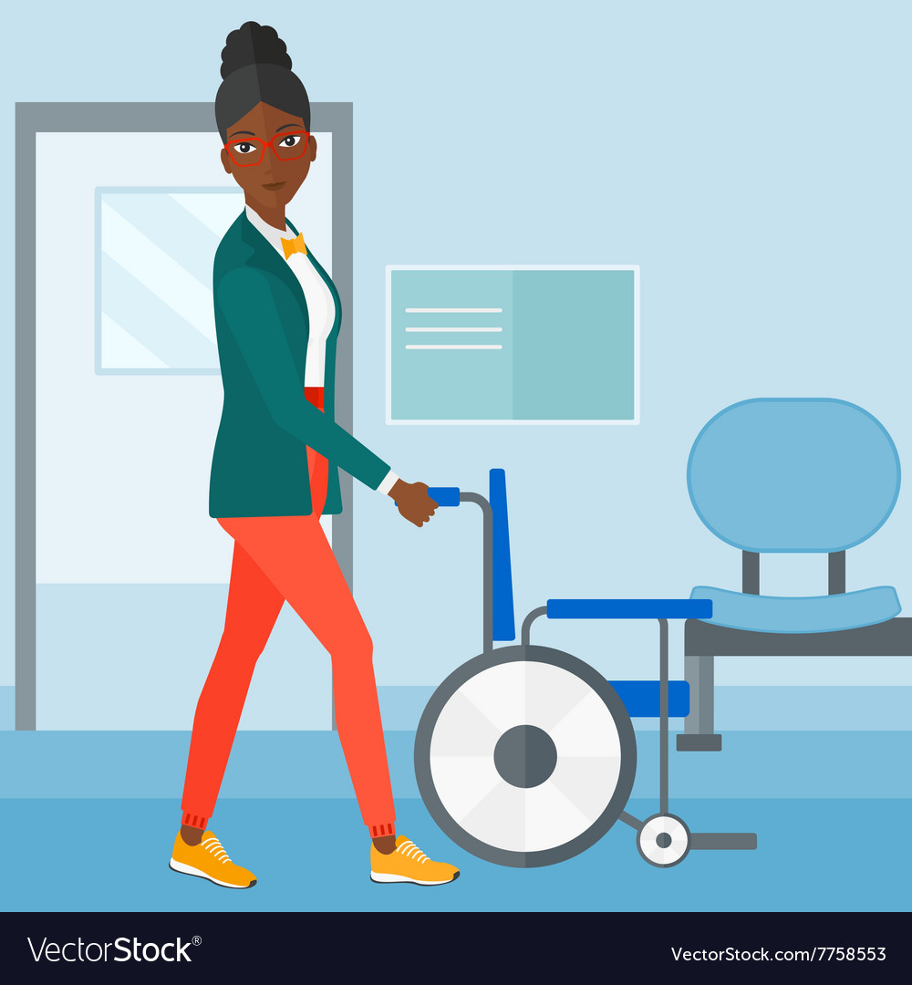 Woman pushing wheelchair vector