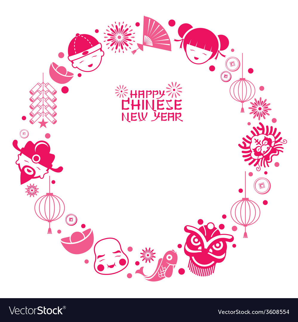 Chinese new year text with icons wreath vector