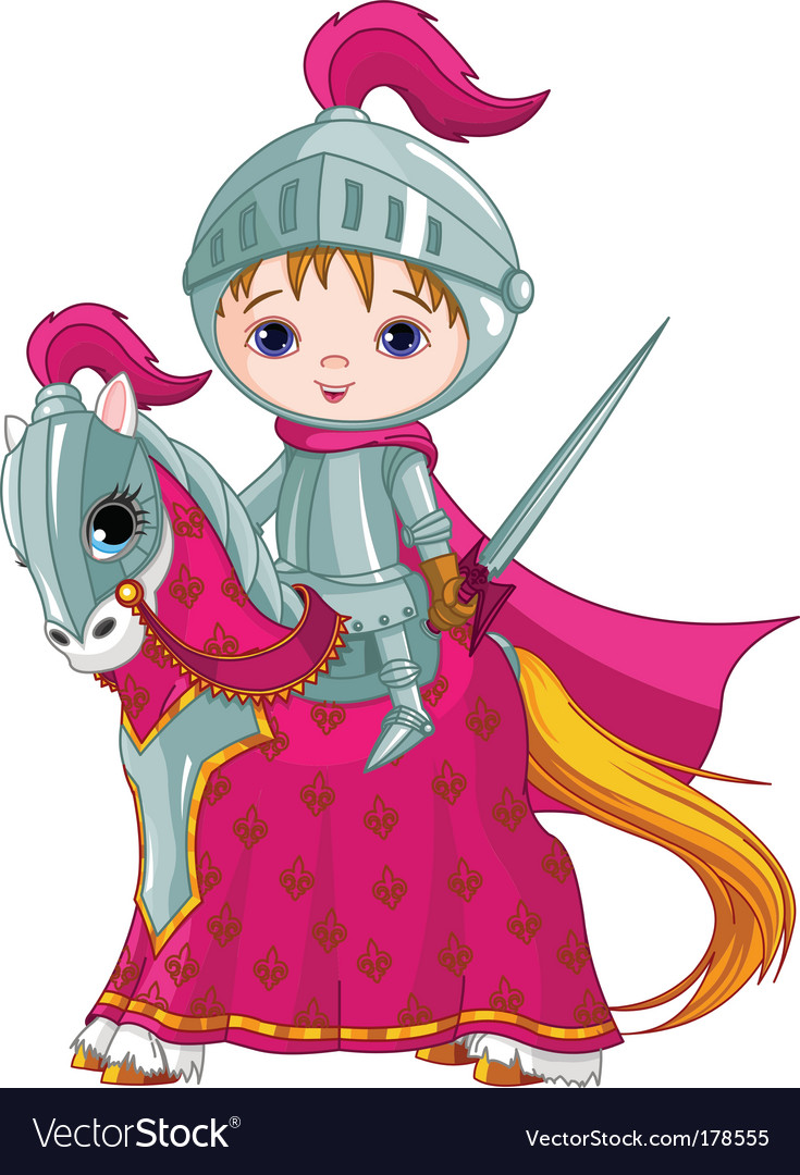 Brave knight on the horse vector
