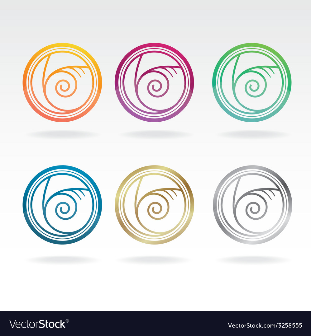 Shell icon colours set vector