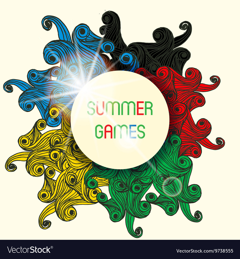 Summer games with colorfull waves vector