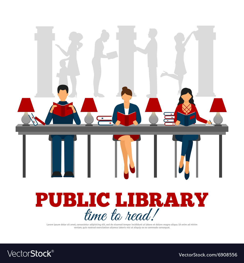 Poster of scene in library vector