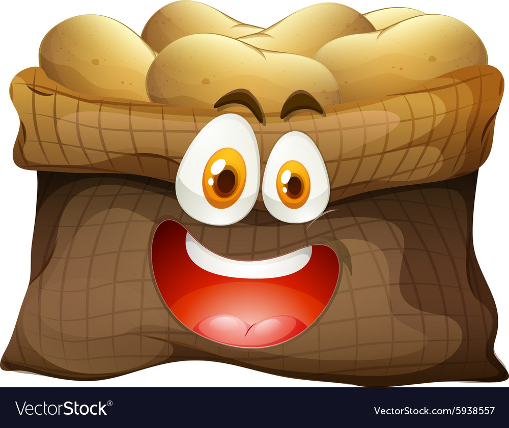 Bag of potatoes with face vector