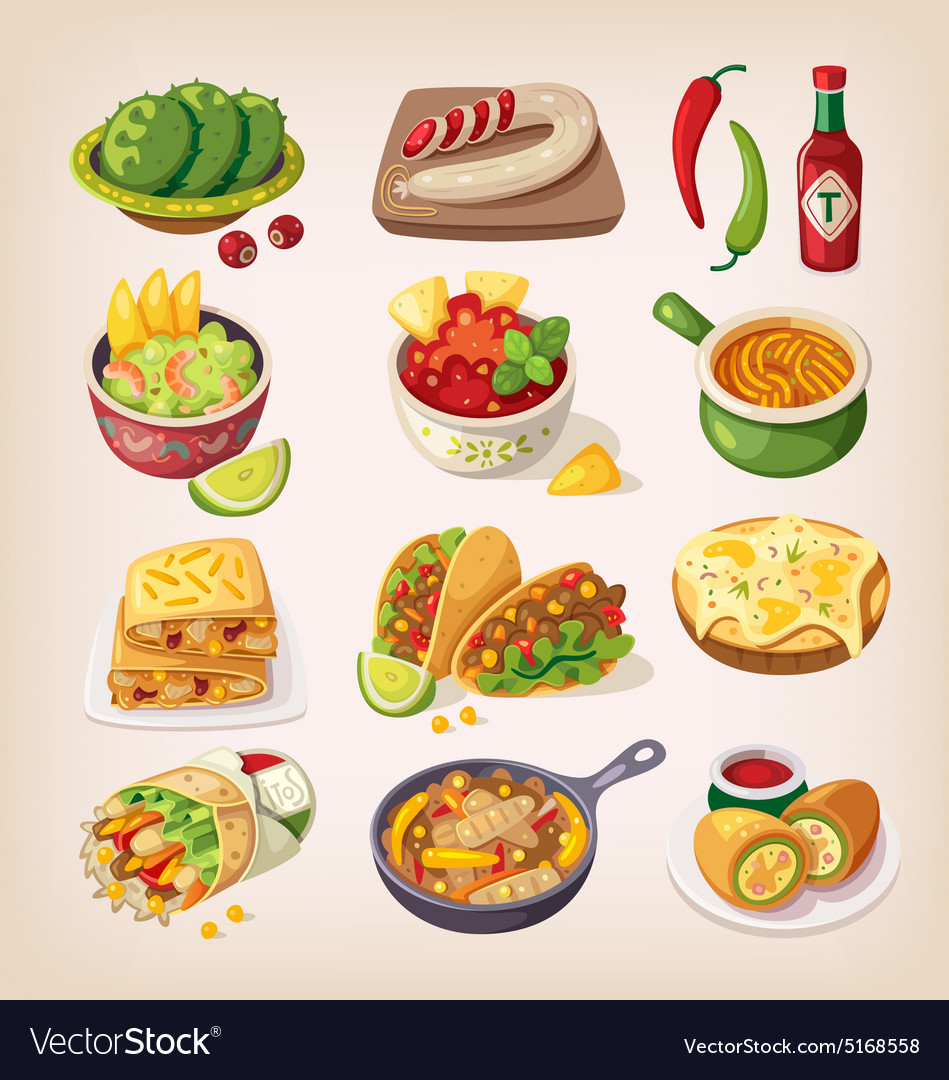 Colorful mexican food vector