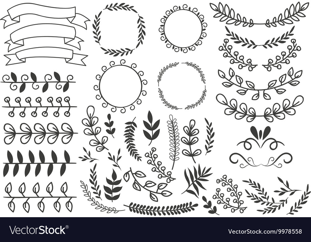 Hand drawn decorative elements set vector