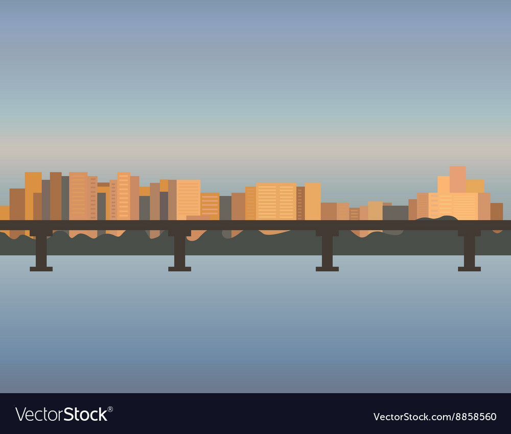 City skyline cityscape bridge building sunset vector