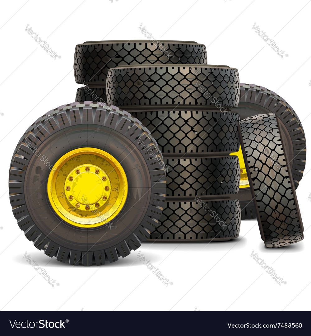 Old tractor wheel set 2 vector