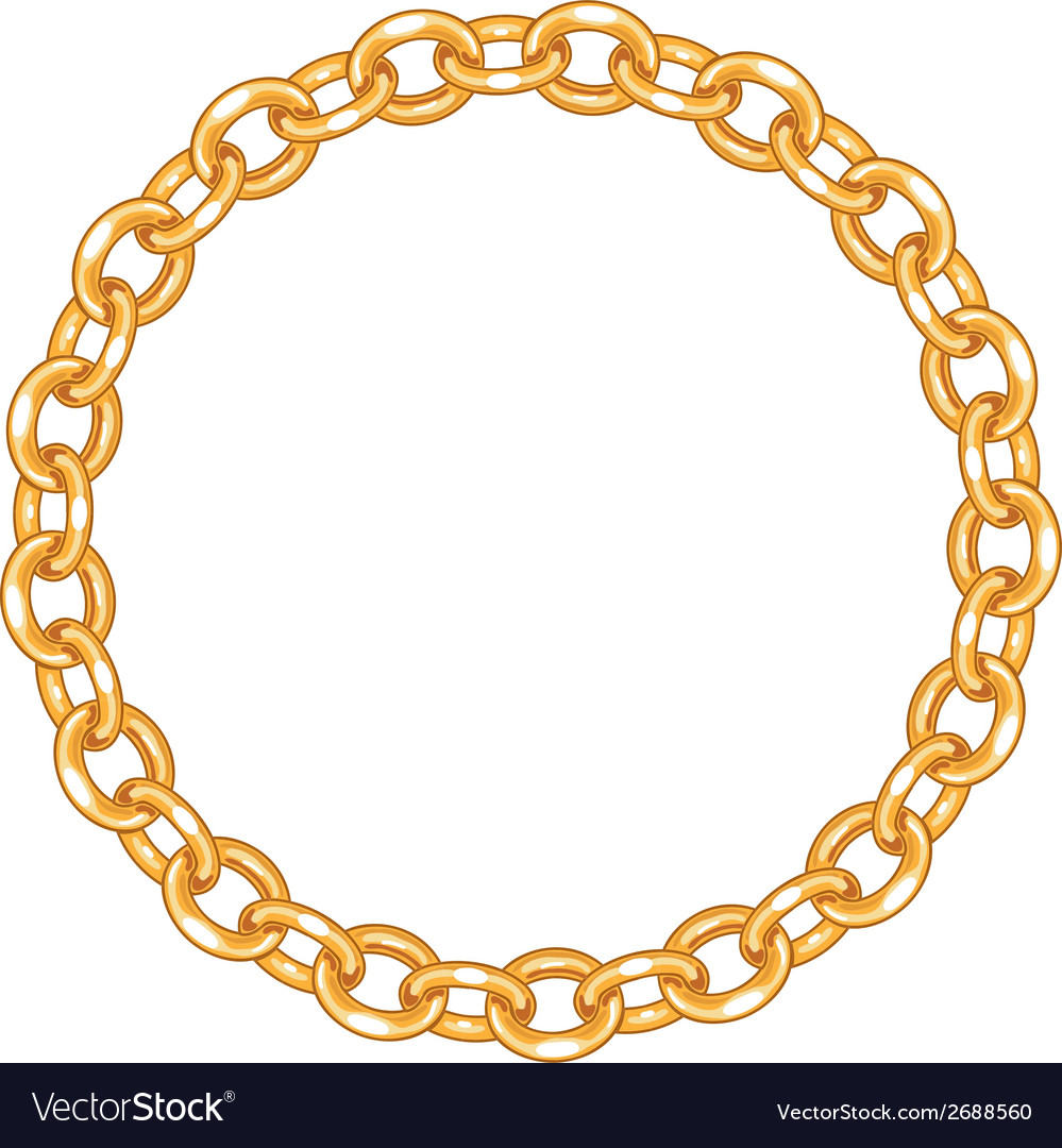 Round frame  gold chain on the white background vector
