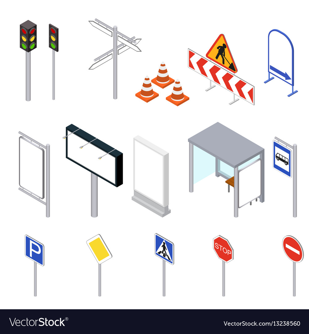 Street objects set isometric view vector