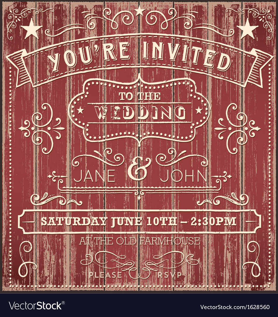 Vintage country wedding invitation vector
