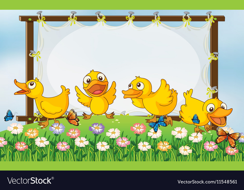 Board template with four ducks in garden vector