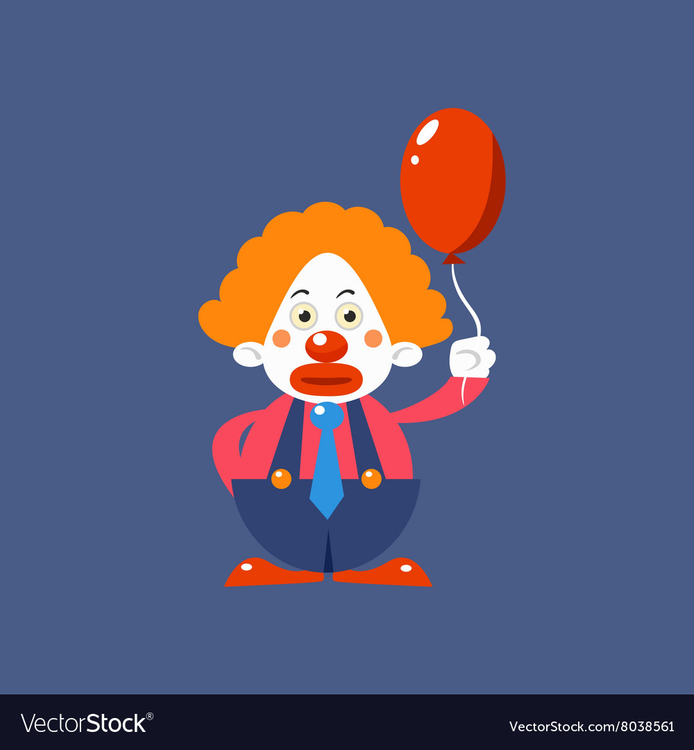 Sad clown holding balloon vector