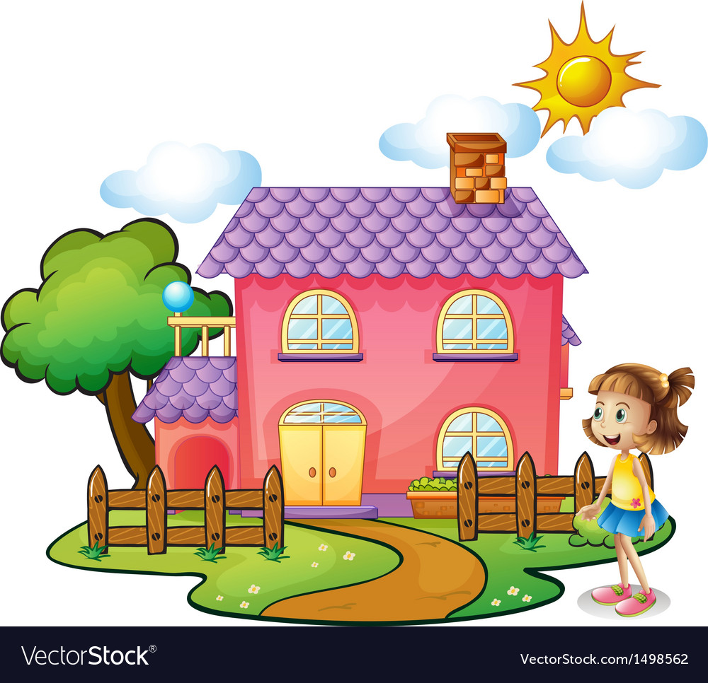 A girl in front of their house vector