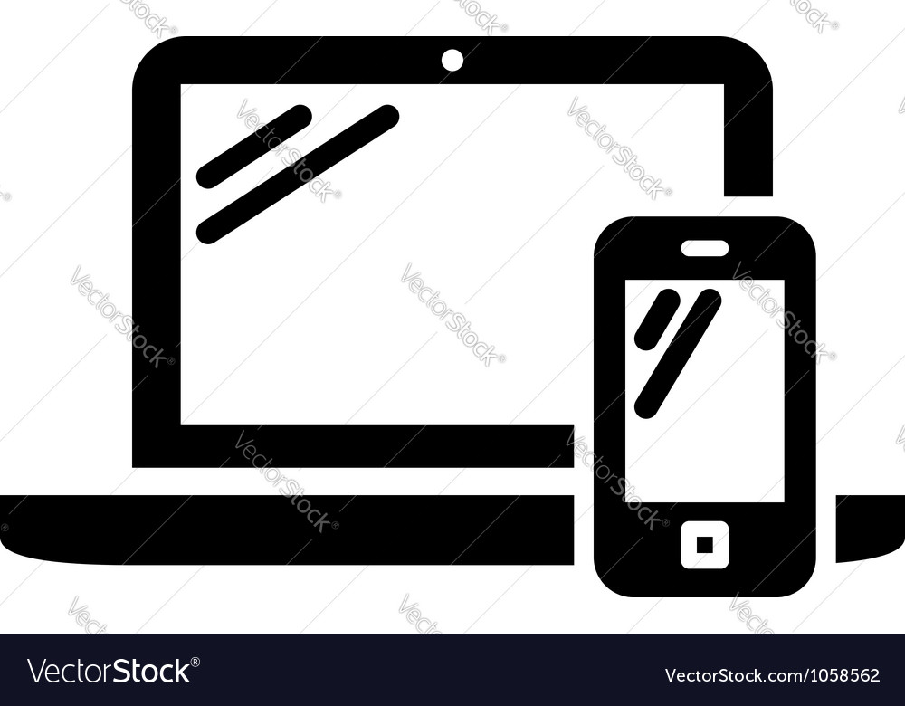 Laptop and mobile phone sign vector