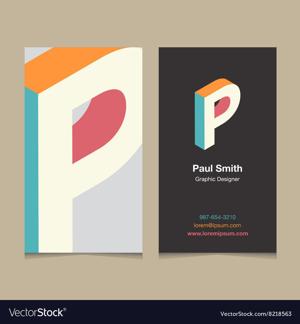 Business card letter p vector