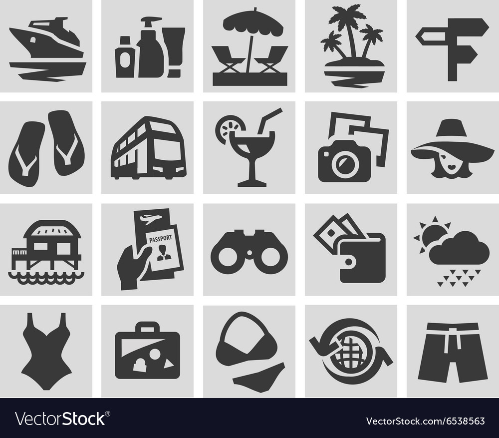 Vacation set black icons signs and symbols vector