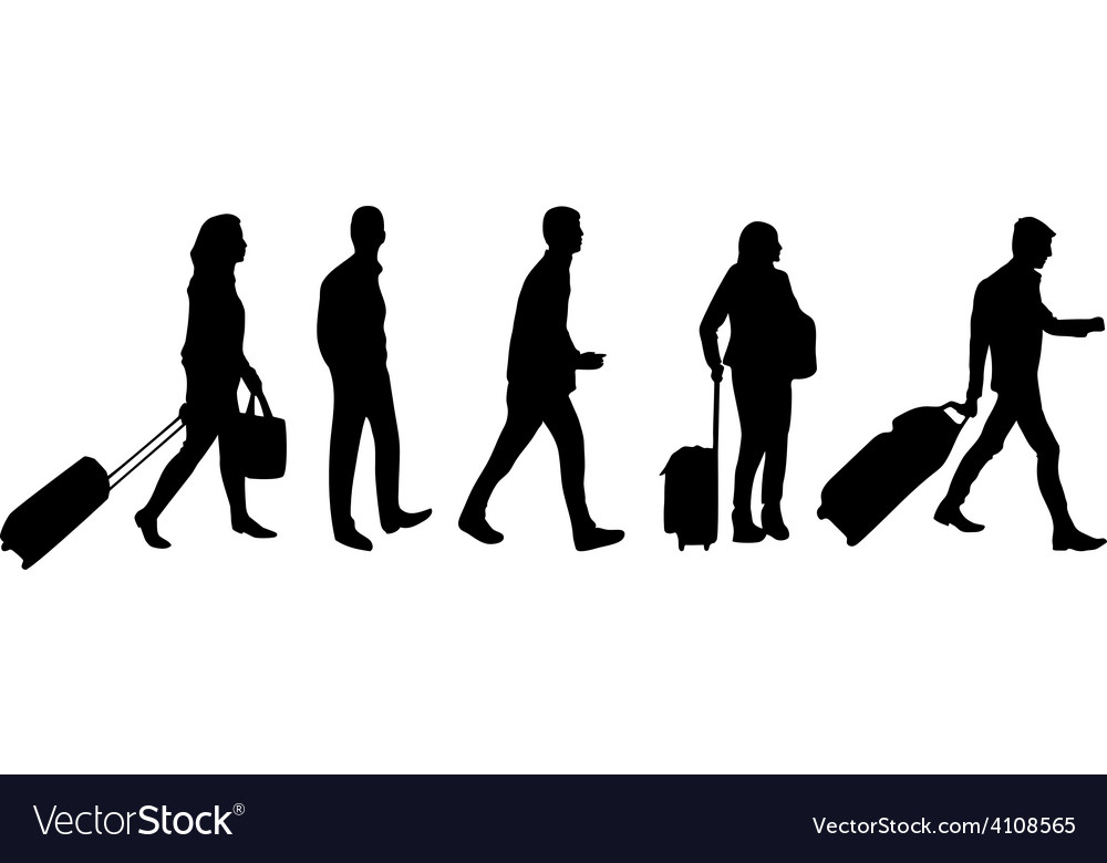 People in airport vector