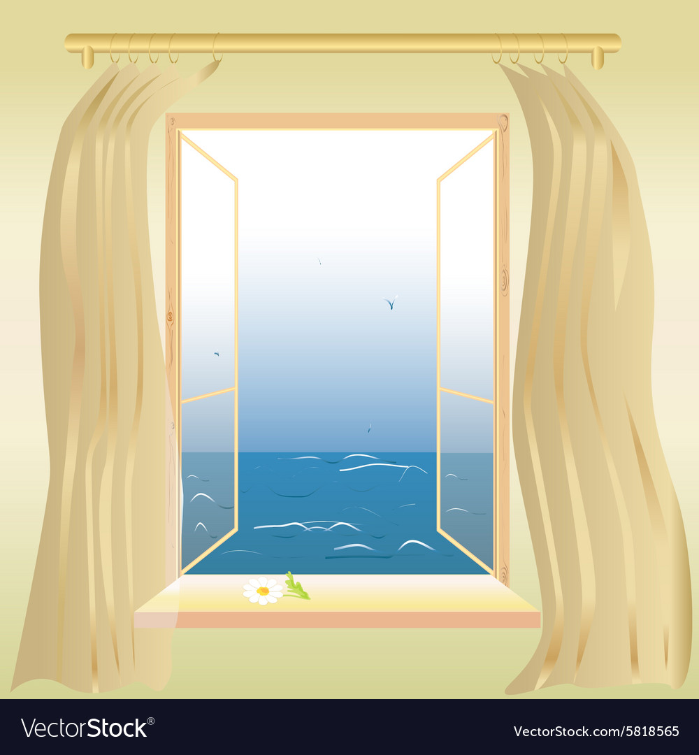 Window overlooking the sea vector