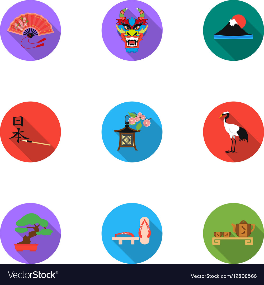 Japan set icons in flat style big collection of vector