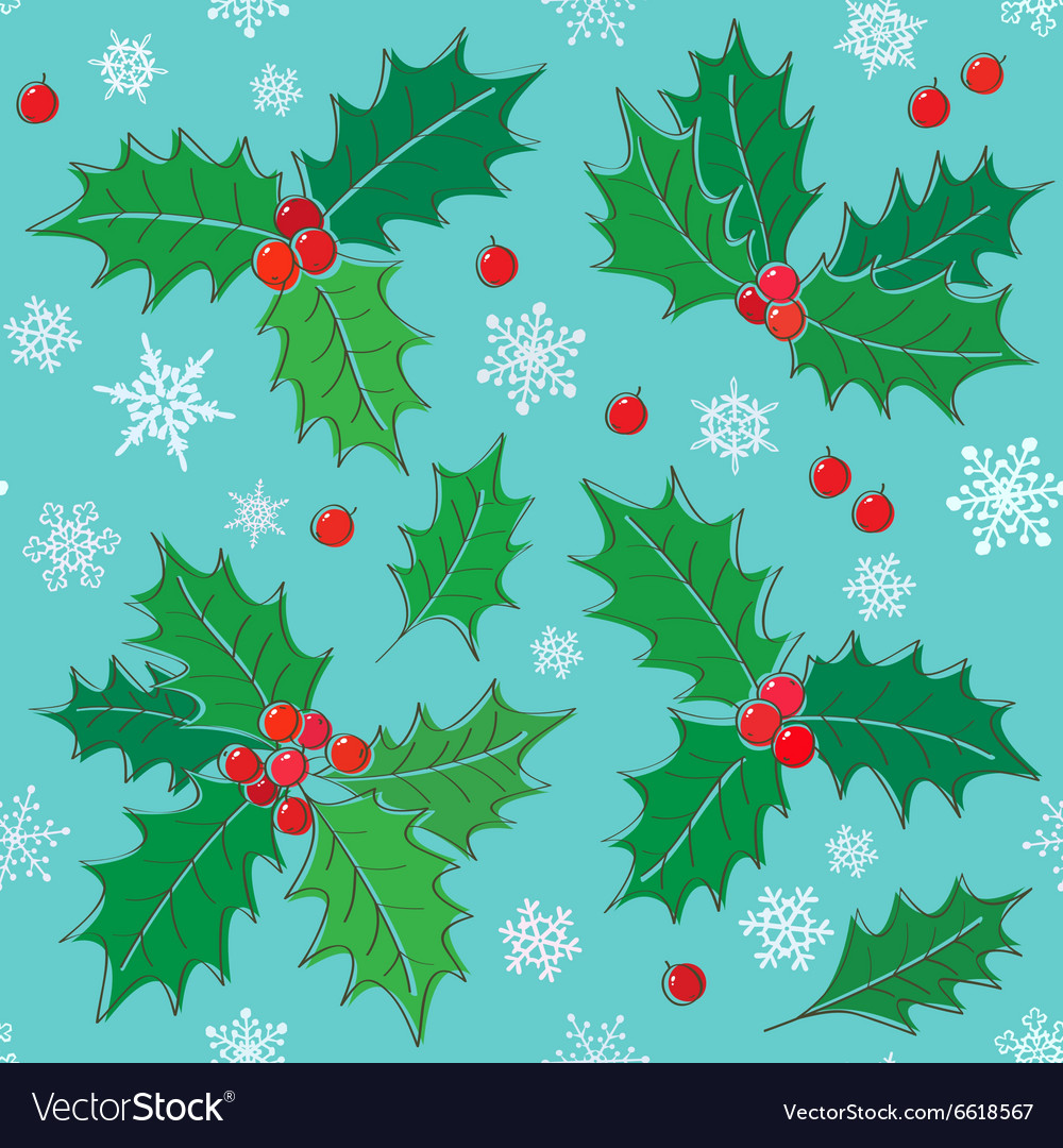 Holly christmas seamless pattern vector