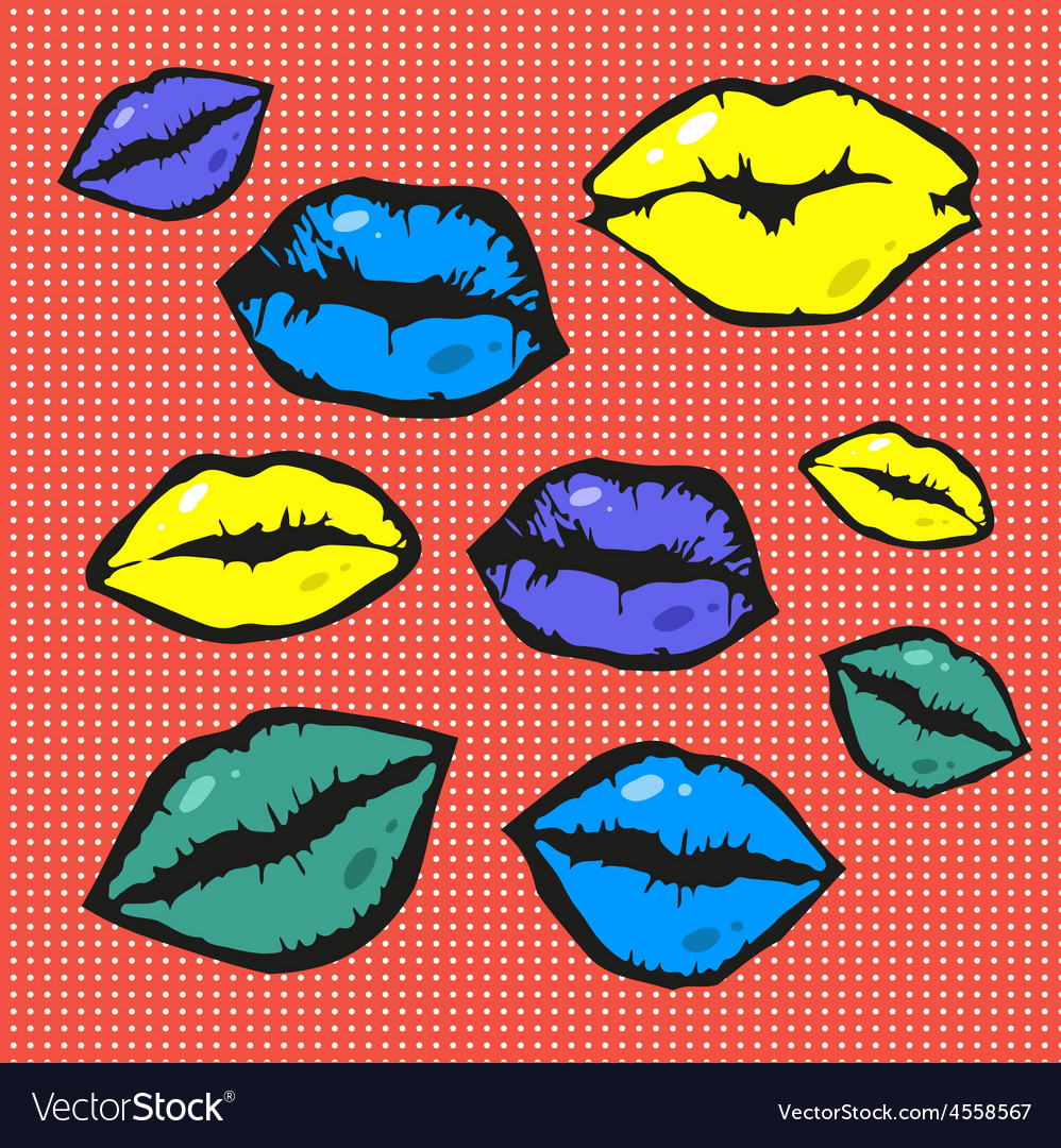 Pop art style lips vector