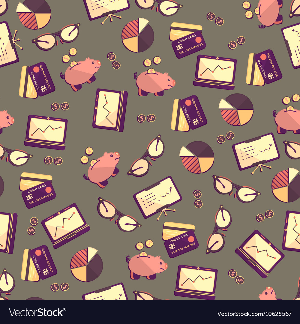 Seamless pattern with finance accounting and vector