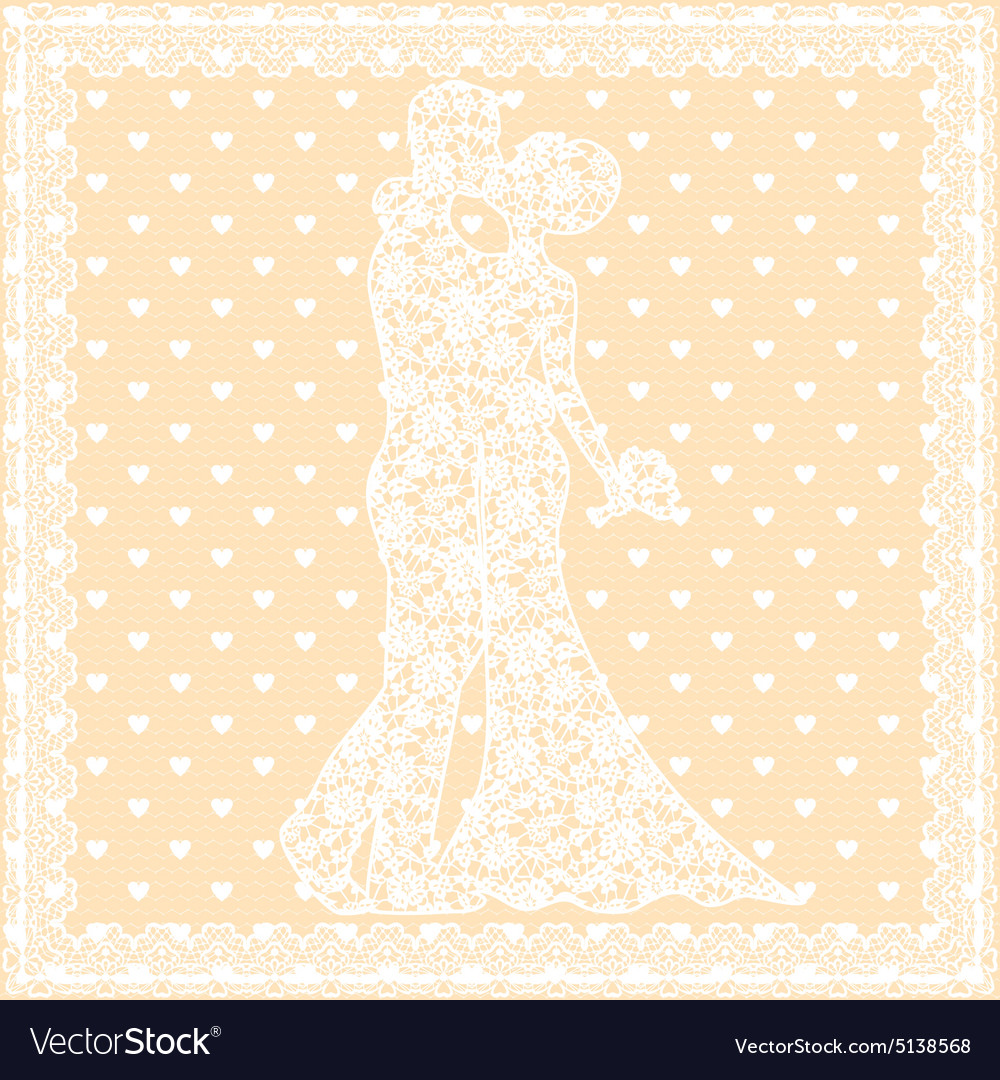 Bride groom and lace vector