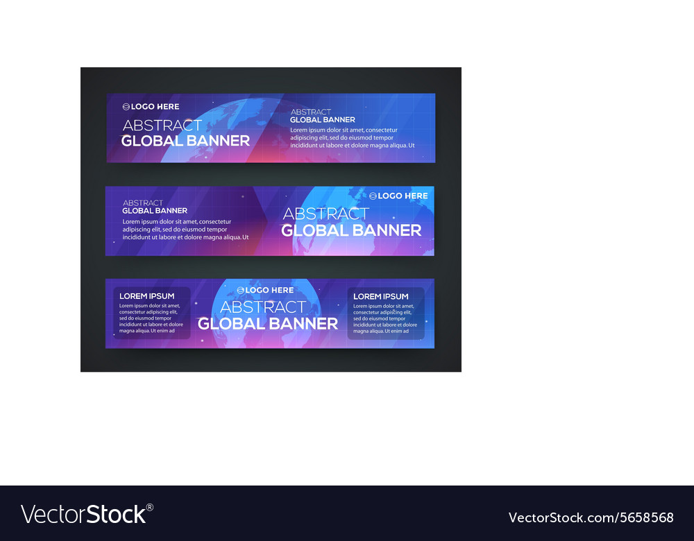 Business banner set background with globe vector