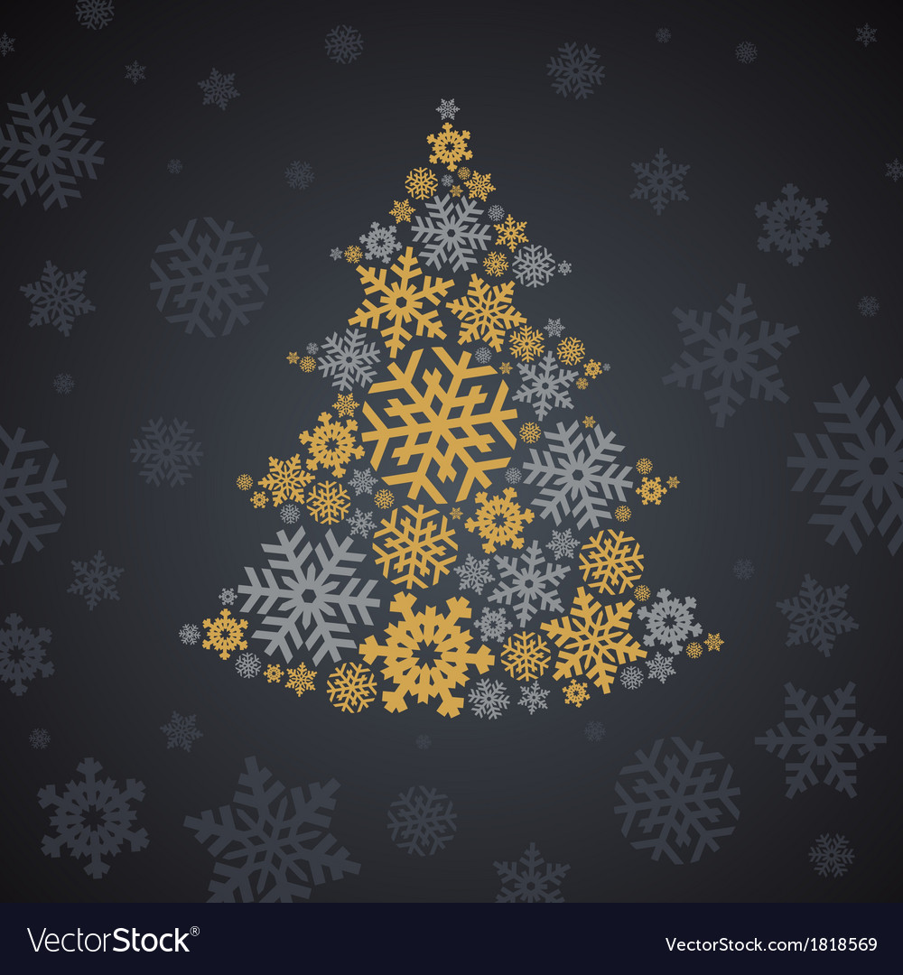Christmas silver and gold snowflakes tree vector
