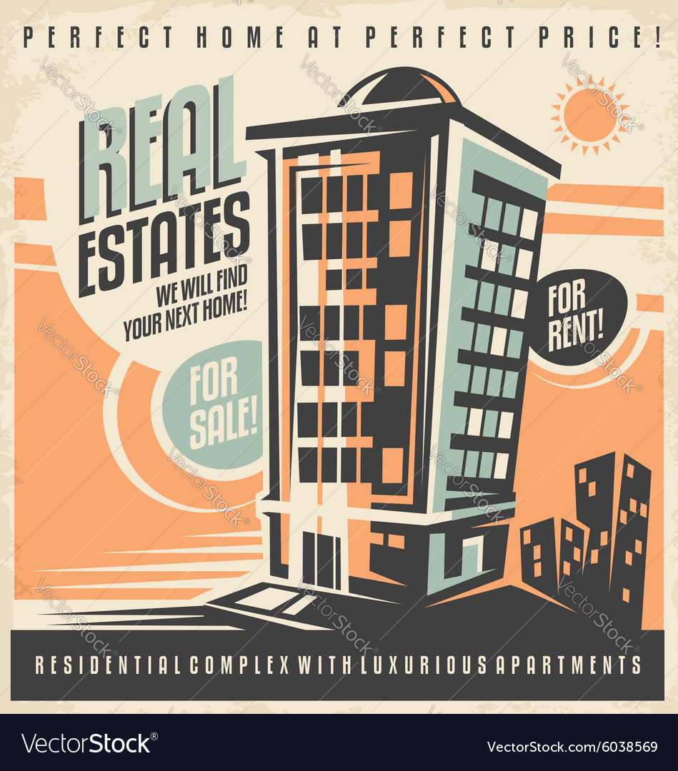 Real estates vintage ad design concept vector