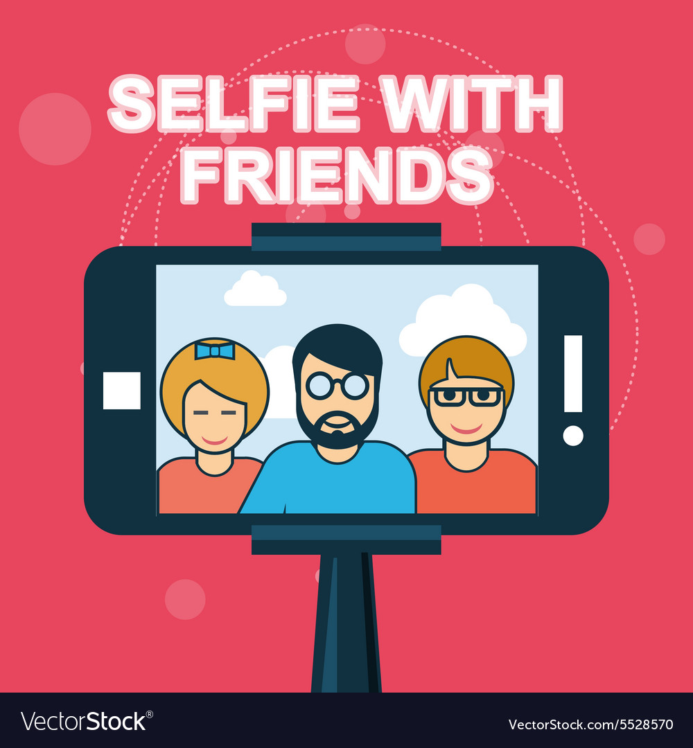 Selfie with friends  smartphone on selfie stick vector