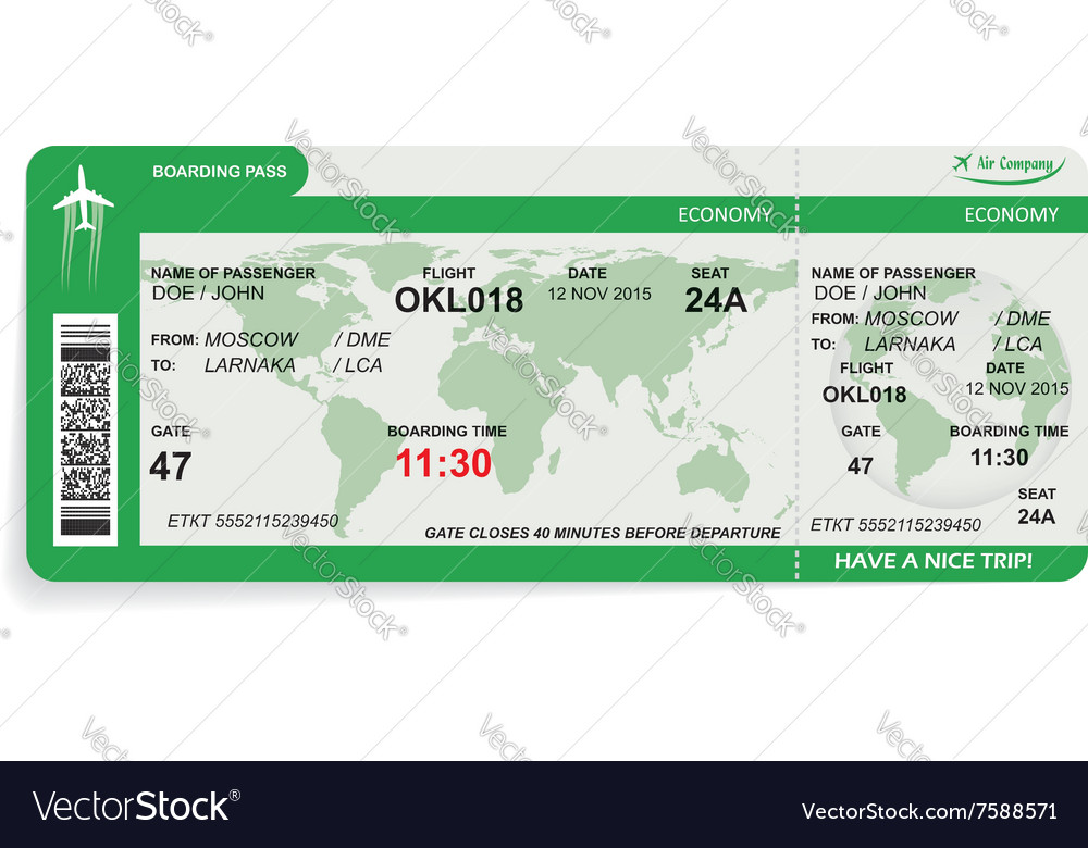 Airline boarding pass vector