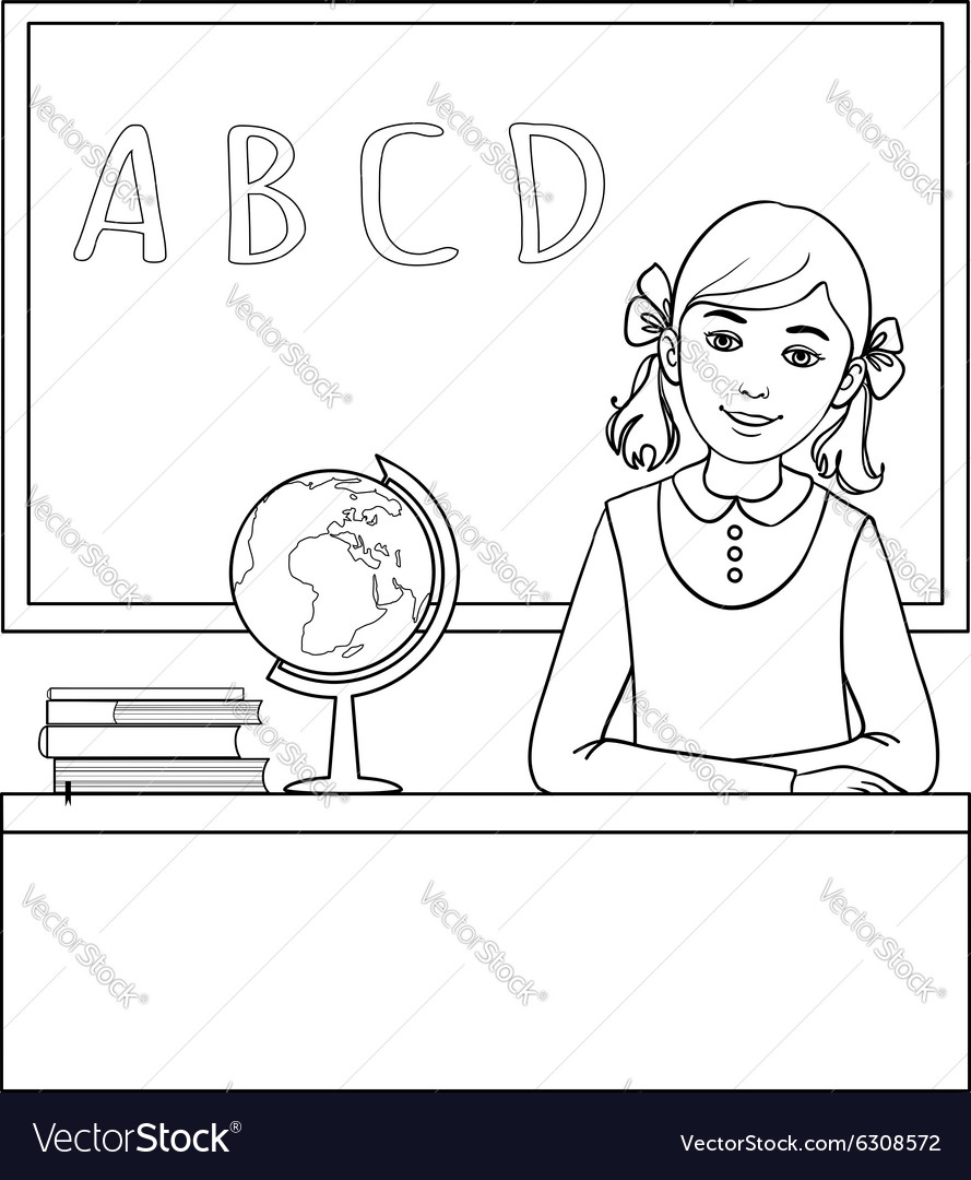 Schoolgirl at the desk near the blackboard vector