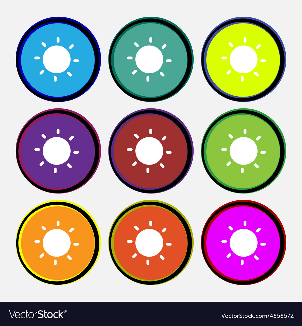 Sun icon sign nine multicolored round buttons vector
