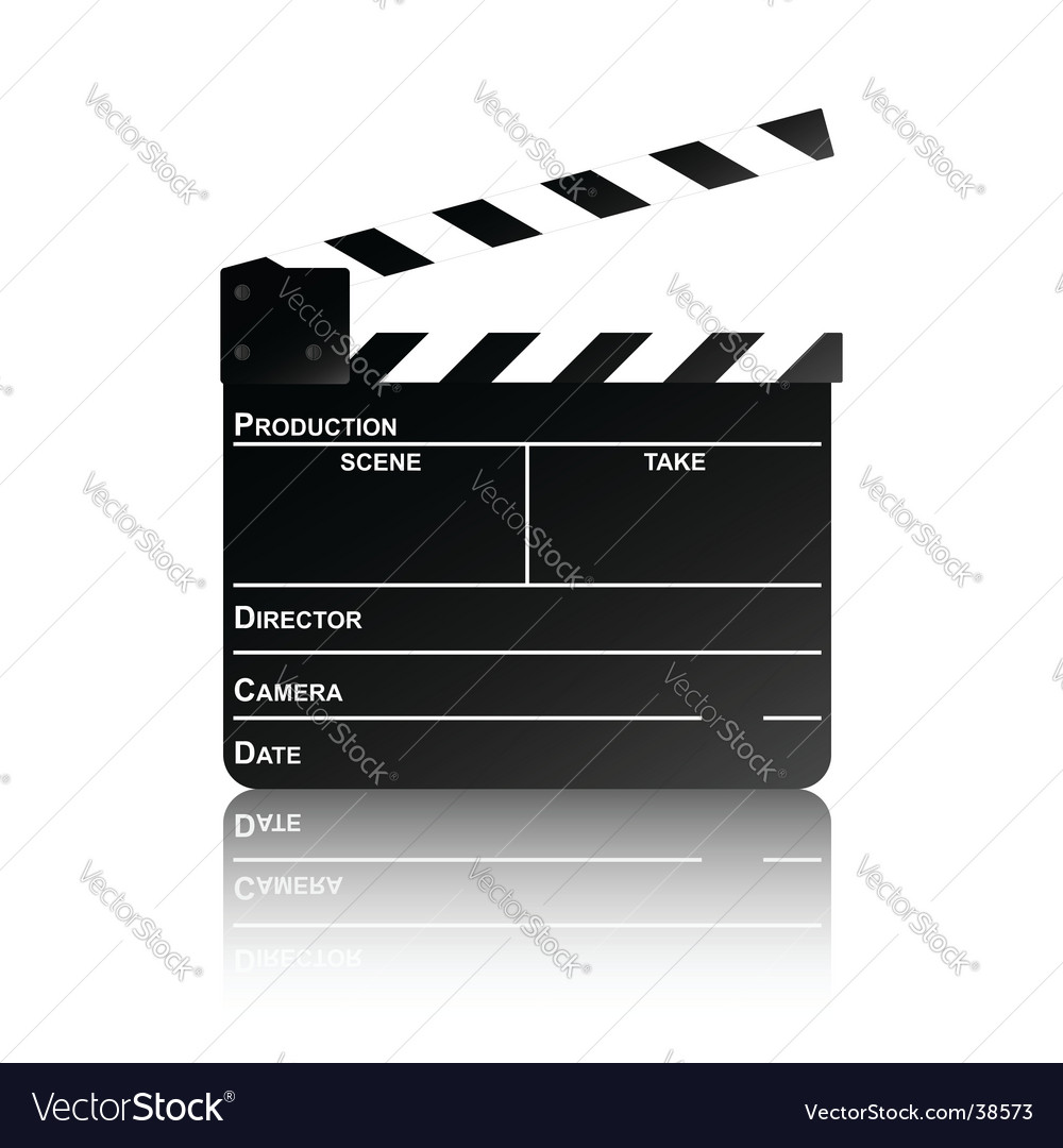 Clapper board with reflection vector