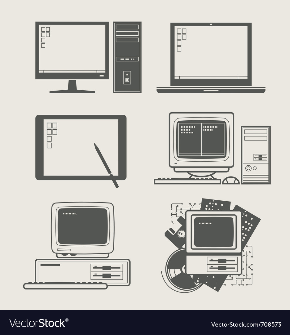 Computer set icon vector