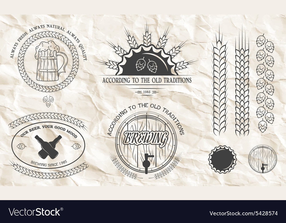 Beer emblems labels badges vector