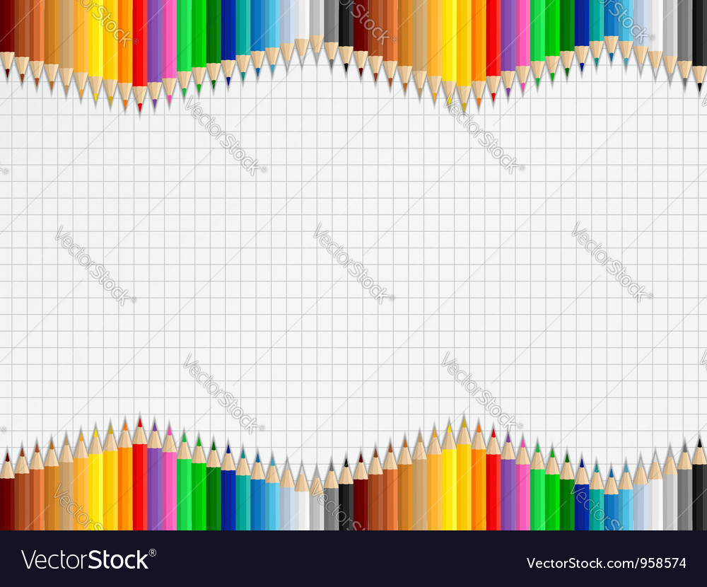 Education background with colored pencils vector