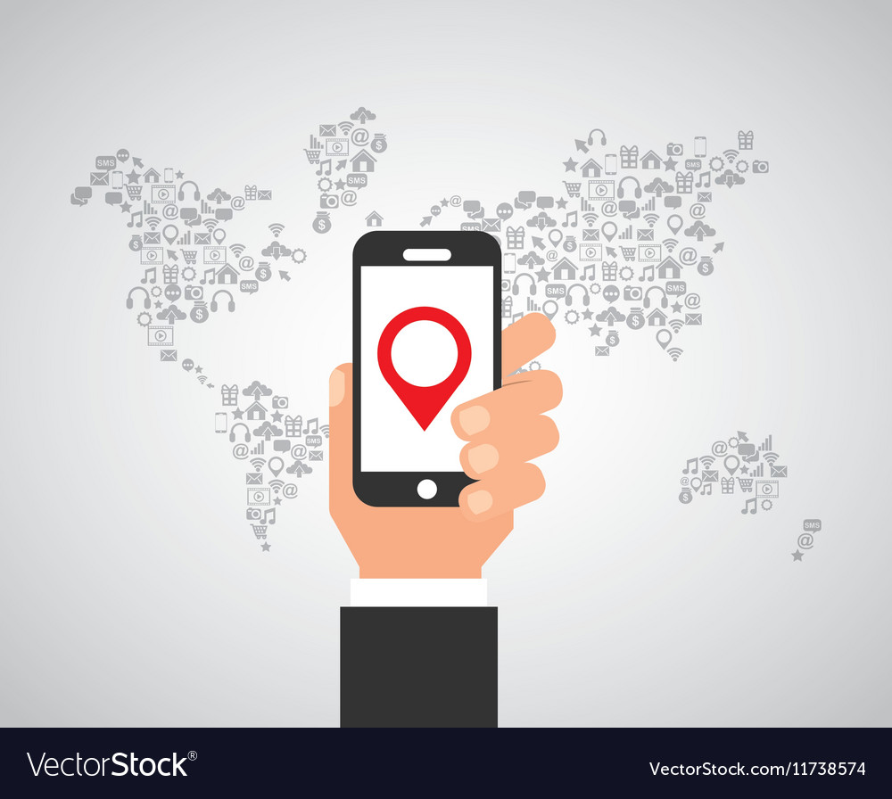 Smartphone and world map vector