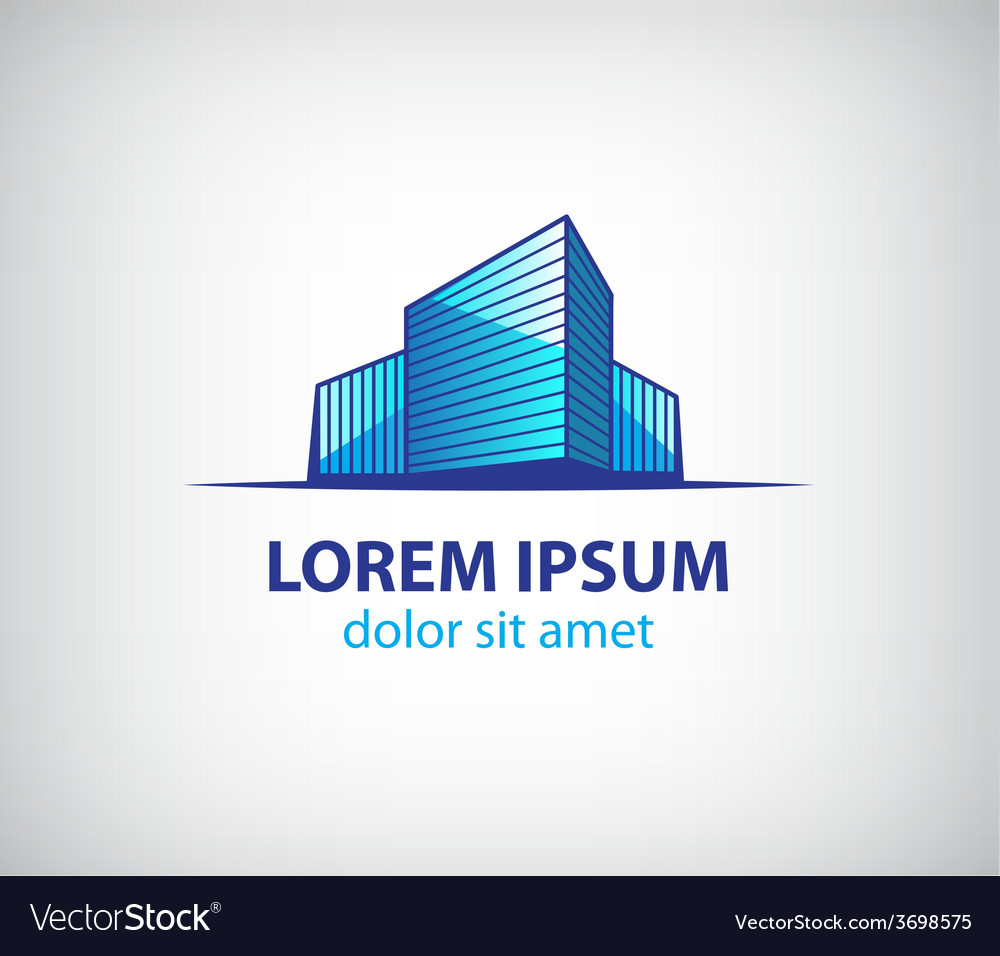 3d building apartment offices icon vector