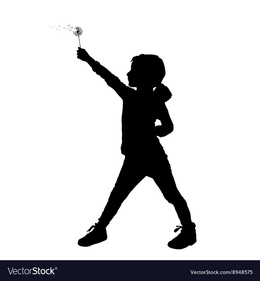 Child holding dandelion silhouette vector
