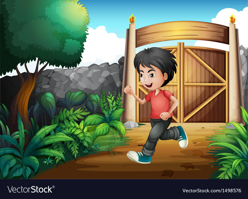 A boy with a red shirt running inside the fence vector